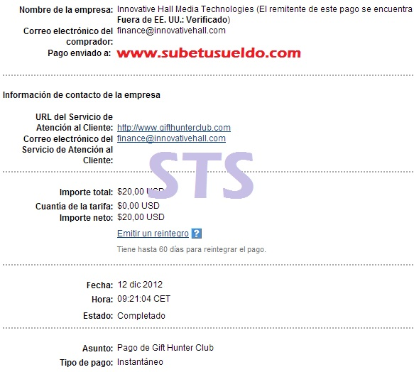 Pago de Gift Hunter Club