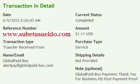 Pago de Globalpaid-bux