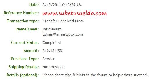 cuarto pago de infinitybux