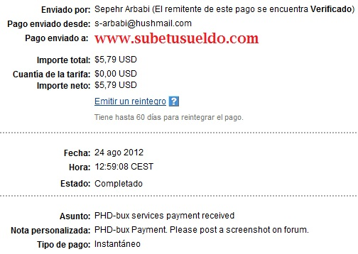 pago de PHD-Bux
